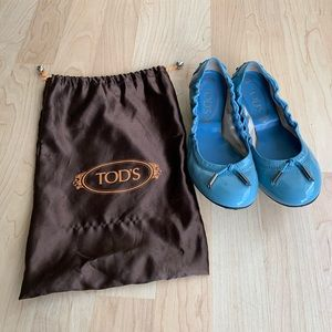 Tod's Ballet Flat, Blue Patent Leather - New